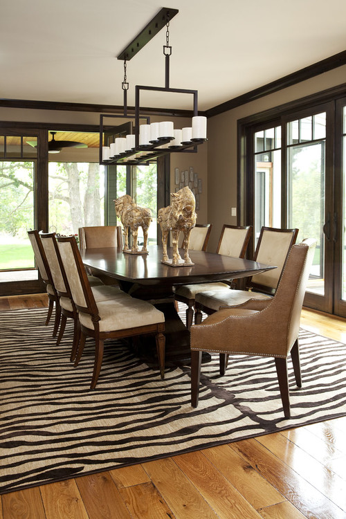 zebra rug in dining room design by minneapolis interior designer martha o hara interiors. Black Bedroom Furniture Sets. Home Design Ideas
