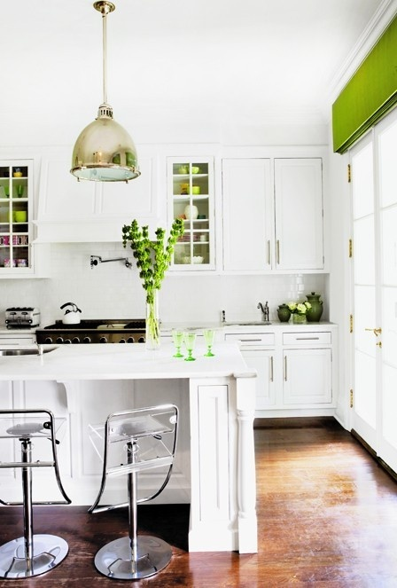 White Kitchen With Green Accents Twoinspiredesign