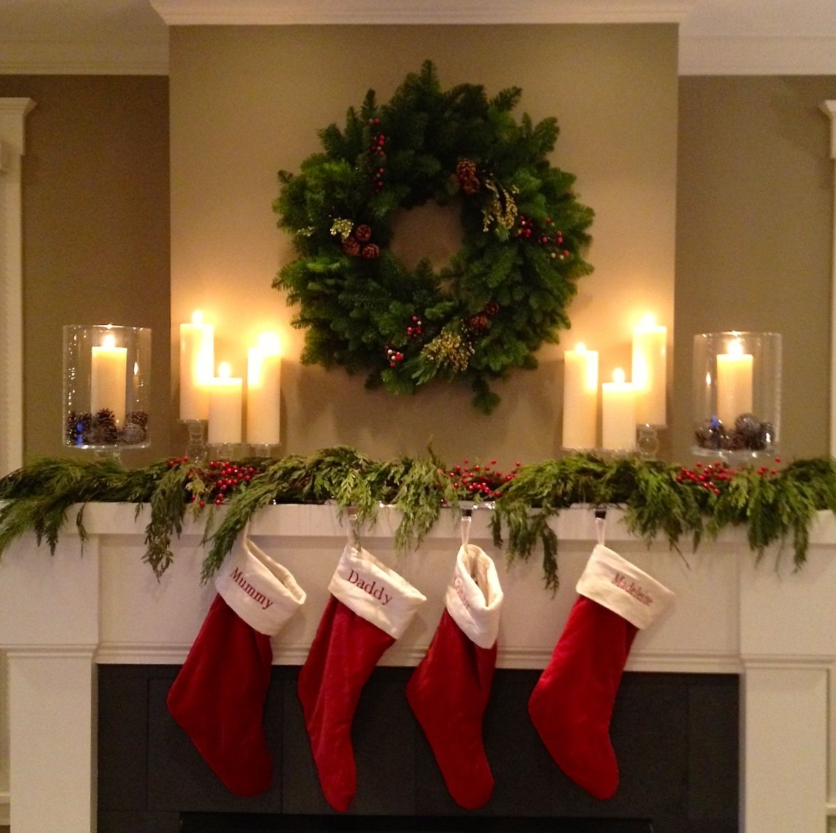 Christmas Mantel With Stockings Twoinspiredesign