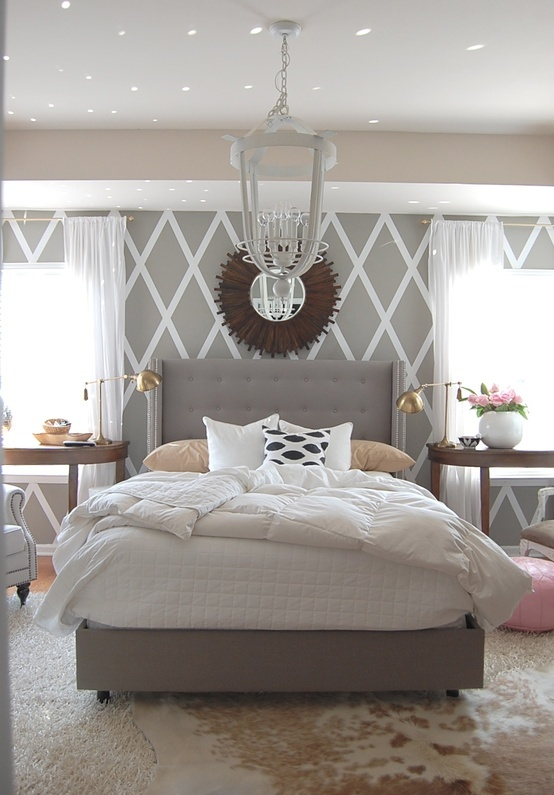 Grey White Bedroom with cowhide rug | twoinspiredesign