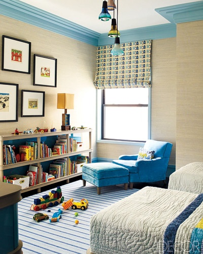 Crown Molding In Bedroom: Painted Crown Molding And Grasscloth In Boy's Room From