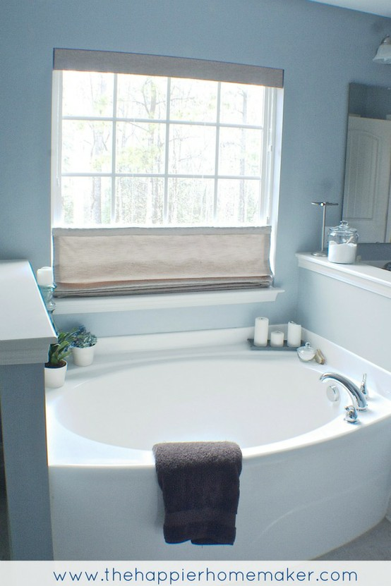 Top Down Bottom Up Roman Shade In Bathroom Twoinspiredesign