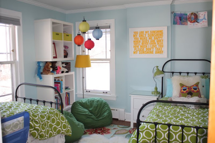 Shared Girls Room Green And Blue Twoinspiredesign
