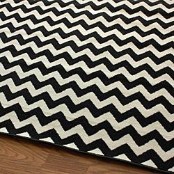 black white chevron rug