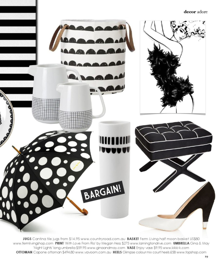 Adore magazine black and white trend