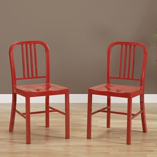 Red metal navy chairs from Overstock