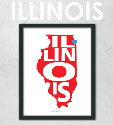 Illinois Map Art from Etsy