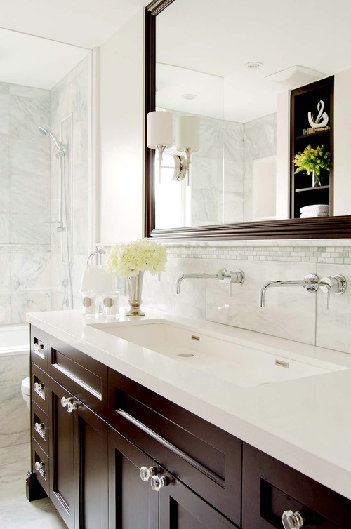 Traditional Single Sink Two Faucet Master Bathroom Photo By Stephani - Long bathroom sink with two faucets