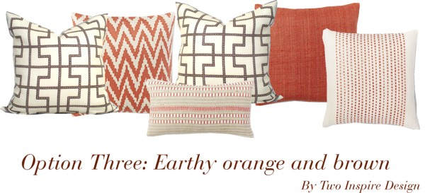 Breakfast Nook Pillows Brown Orange