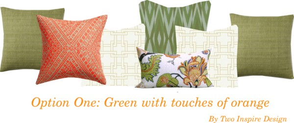 Breakfast Nook Pillows Green Orange
