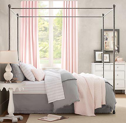 Pink and Grey Bedroom | twoinspiredesign