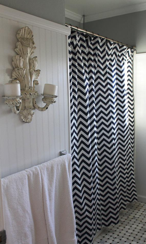Black White Chevron Shower Curtain