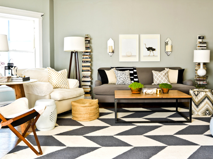 Cynthia Lynn Photography Black White Graphic Rug In Living Room